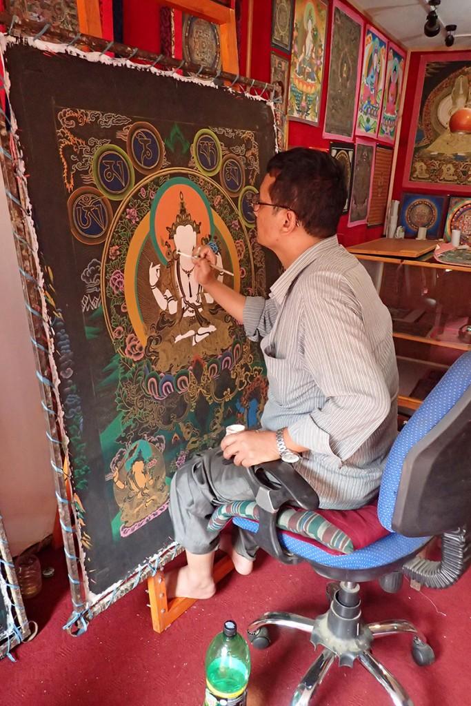 Thanka artist in Bhaktapur