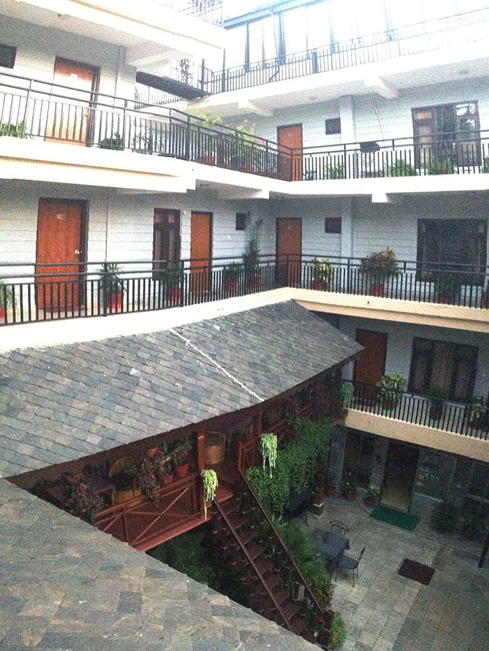The inside courtyard of the four-story hotel in Pokhara