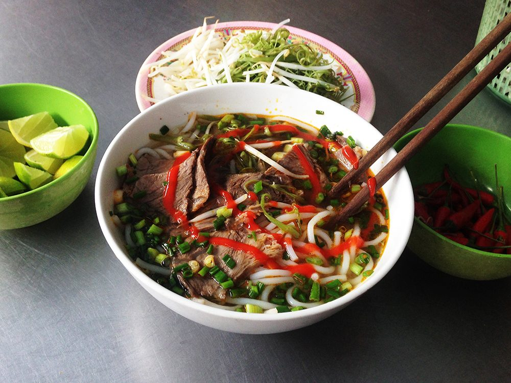 Bun Bo Hue is a rice vermicelli soup with beef