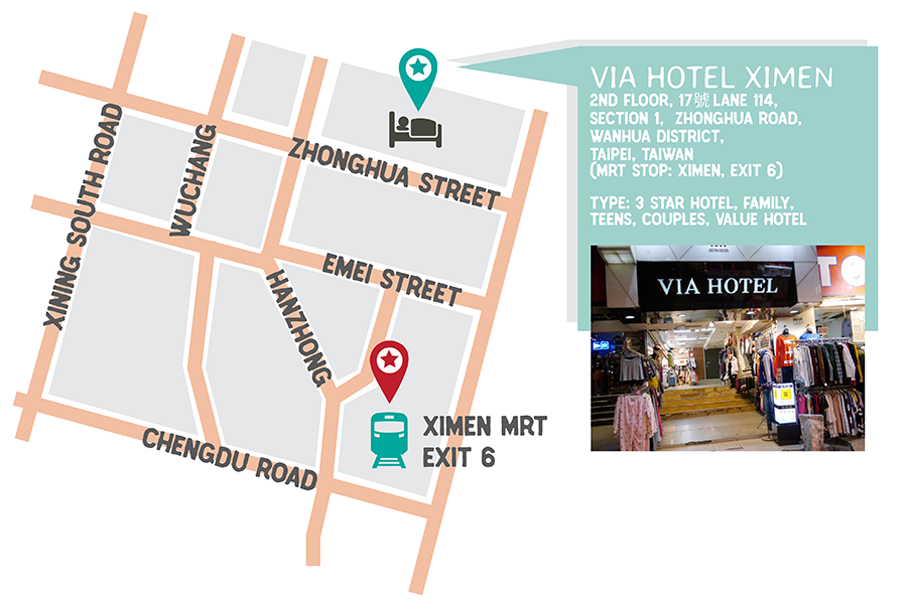 hotel stay MAP via hotel ximen taipei taiwan