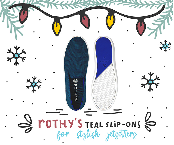 2018 Travelers Holiday Gift Guide Rothys Teal Slip Ons