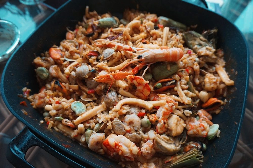 Cooking Seafood Paella in Spain