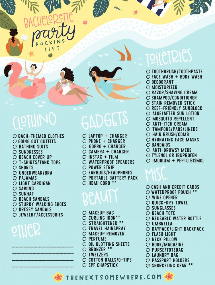 Tulum Bachelorette Party Packing List